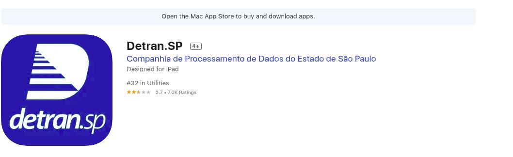 Como Baixar O App Para Consultar CNH Fonte: App Store
