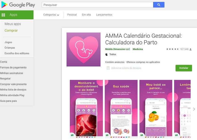 Aplicativo Android Para Calcular Semanas De Gestação Fonte: Google Play