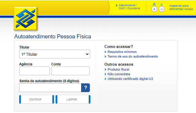Aplicativo Do Banco Do Brasil Para PC Para Ver SaldoFonte: Captura De Tela Site Oficial Banco Do Brasil