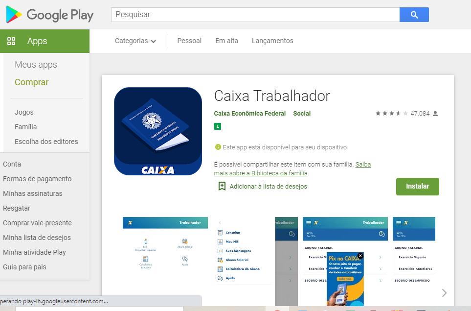 Baixar App Para Saber O PasepFonte: Google Play