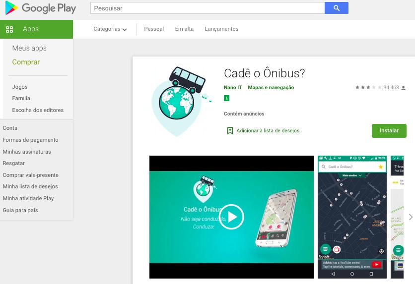 Aplicativo Para iPhone Para Ver Onde O Ônibus Está Fonte: Google Play