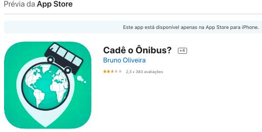 Aplicativo Para iPhone Para Ver Onde O Ônibus Está Fonte: App Store