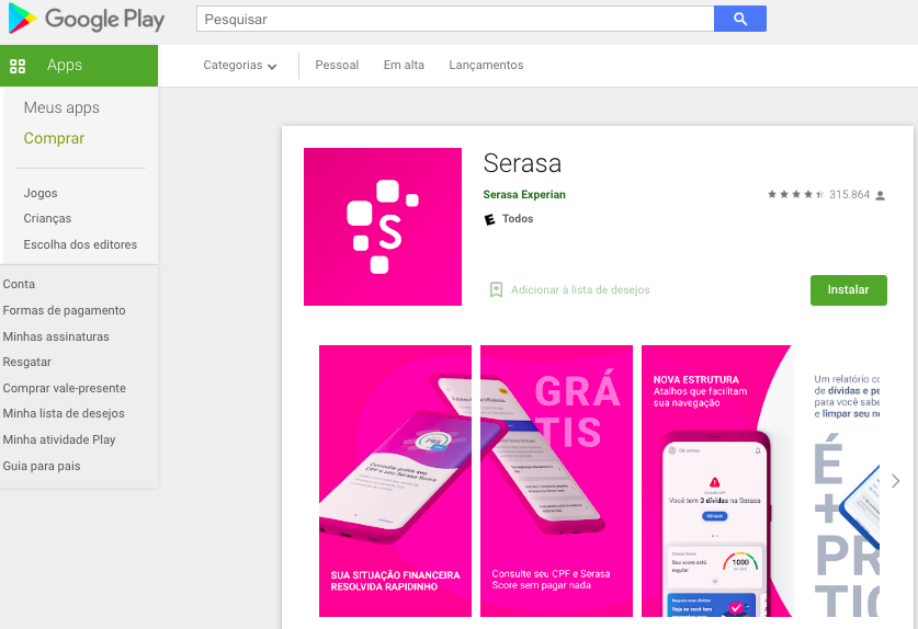 Aplicativo Para Android Para Saber O Score Fonte: Google Play
